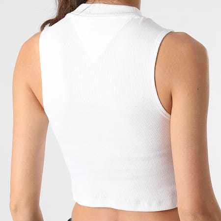 Tommy Jeans - Top Crop Femme Sans Manches Mockneck Rib 0446 Ecru