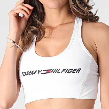 Tommy Sport - Brassière Femme Mid Intensity Graphic 0973 Blanc
