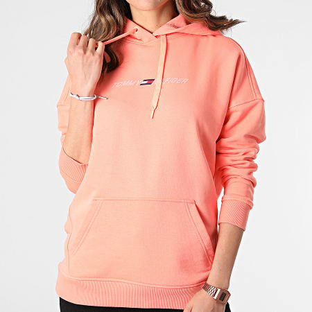 Tommy Sport - Sweat Capuche Femme Relaxed Graphic 0980 Saumon