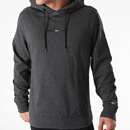 Tommy Jeans - Sweat Capuche Gel Straight Logo 0703 Gris Anthracite Chiné