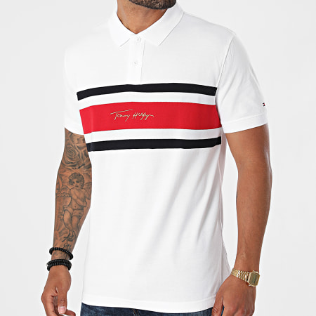 Tommy Hilfiger - Polo Manches Courtes Global Signature 9229 Ecru