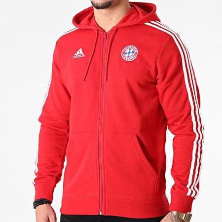 adidas - Sweat Zippé Capuche A Bandes FC Bayern GR0690 Rouge