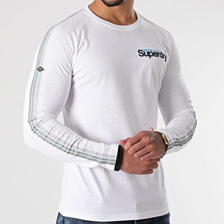 Superdry - Tee Shirt Manches Longues A Bandes Cali Raglan M6010468A Blanc