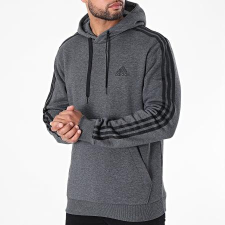 adidas - Sweat Capuche A Bandes 3 Stripes GK9082 Gris Anthracite Chiné