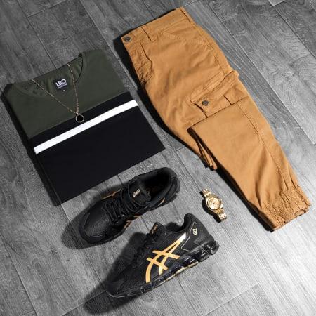 LBO - Tee Shirt Manches Longues Tricolore 1814 Vert Kaki Noir