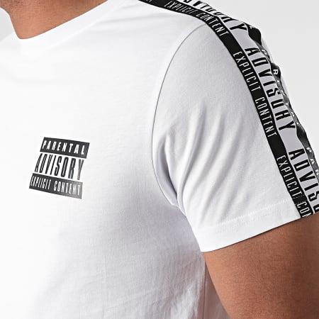 Parental Advisory - Tee Shirt A Bande Tape Back Blanc Noir
