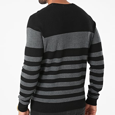 Guess - Pull A Rayures M1YR61-Z2UZ0 Noir Gris Anthracite Chiné