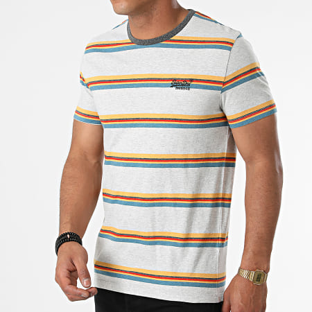 Superdry - Tee Shirt A Rayures OL M1010862A Gris Chiné