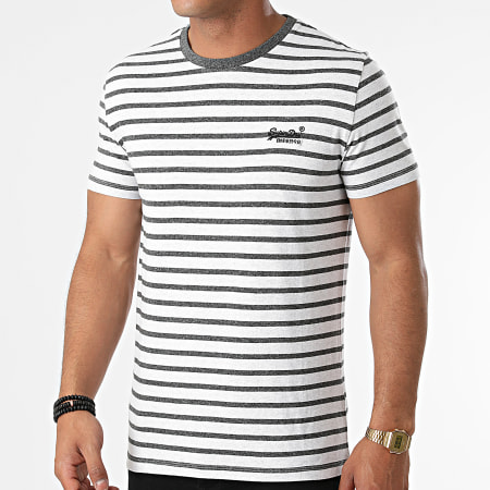 Superdry - Tee Shirt A Rayures M1010862A Gris Chiné