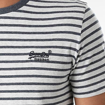Superdry - Tee Shirt A Rayures M1010862A Gris Chiné Bleu Marine