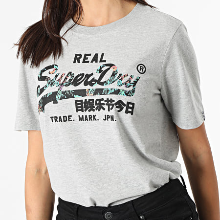 Superdry - Tee Shirt Manches Longues Femme Vintage Label Infill Gris Chiné