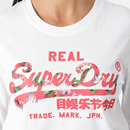 Superdry - Tee Shirt Manches Longues Femme Vintage Label Infill Blanc