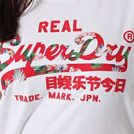 Superdry - Tee Shirt Femme Vintage Label Infill Blanc
