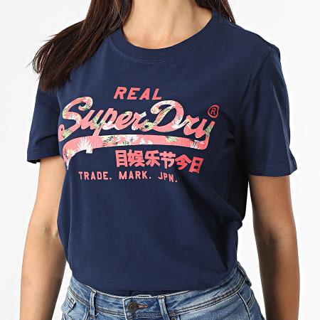 Superdry - Tee Shirt Manches Longues Femme Vintage Label Infill Bleu Marine