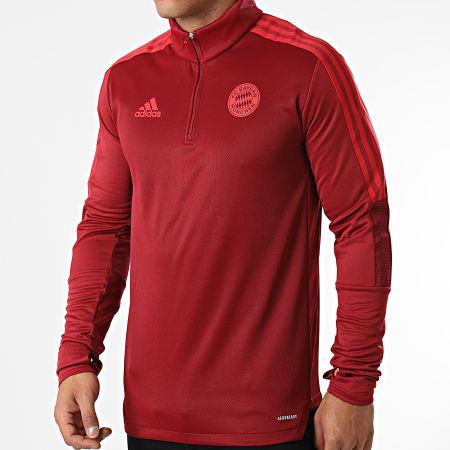 adidas - Tee Shirt Manches Longues A Bandes FC Bayern GR0672 Bordeaux