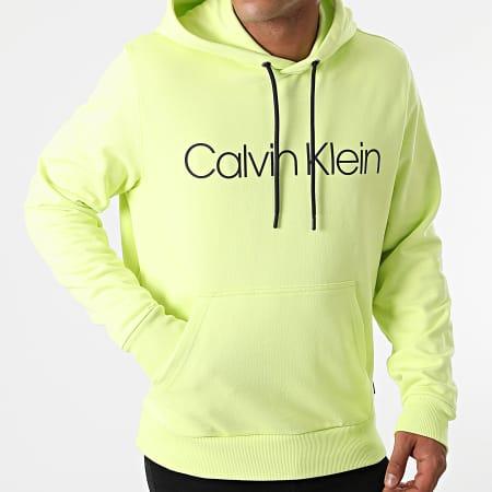 Calvin Klein - Sweat Capuche Cotton Logo 7033 Jaune Fluo