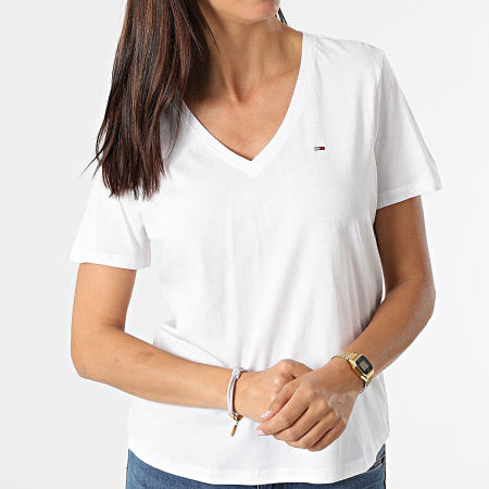 Tommy Jeans - Tee Shirt Slim Femme Soft 9385 Blanc