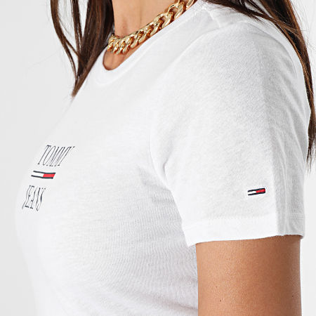 Tommy Jeans - Tee Shirt Skinny Femme Essential Tommy 0411 Blanc