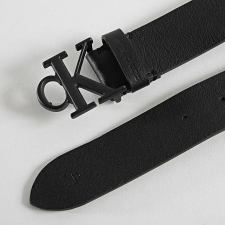 Calvin Klein Jeans - Ceinture Cuir Rounded Mono Plaque 7065 Noir
