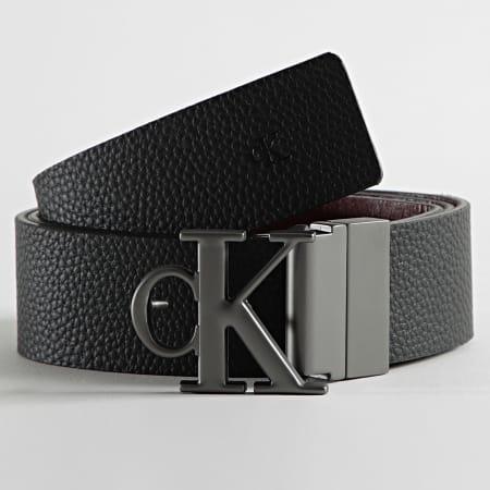 Calvin Klein Jeans - Ceinture Cuir Réversible Rounded Mono Plaque 7066 Noir Marron