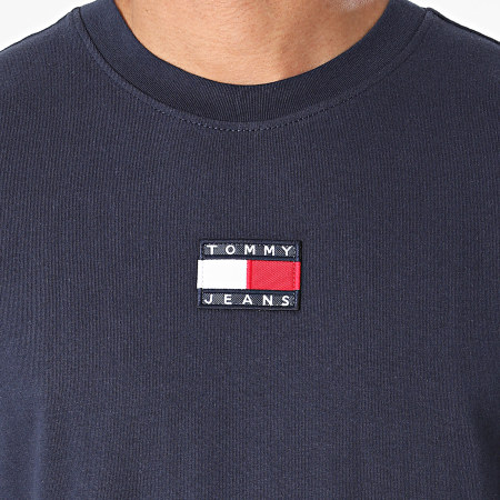 Tommy Jeans - Tee Shirt Manches Longues Tommy Badge 0932 Bleu Marine