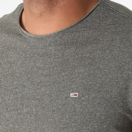 Tommy Jeans - Tee Shirt Oversize Slim Jaspe 9586 Vert Kaki Chiné