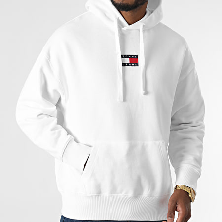 Tommy Jeans - Sweat Capuche Tommy Badge 0904 Blanc