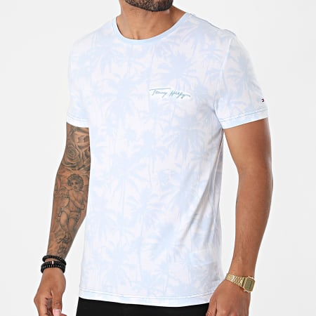 Tommy Hilfiger - Tee Shirt All Over Print 9362 Blanc Bleu Clair Floral