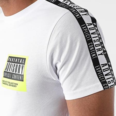 Parental Advisory - Tee Shirt A Bandes Label Blanc