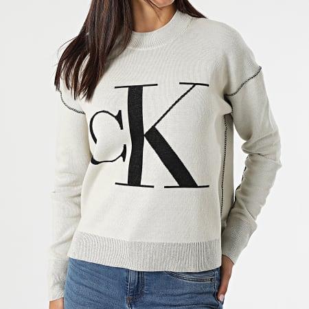 Calvin  Klein Jeans - Pull Femme CK Loose 6243 Beige