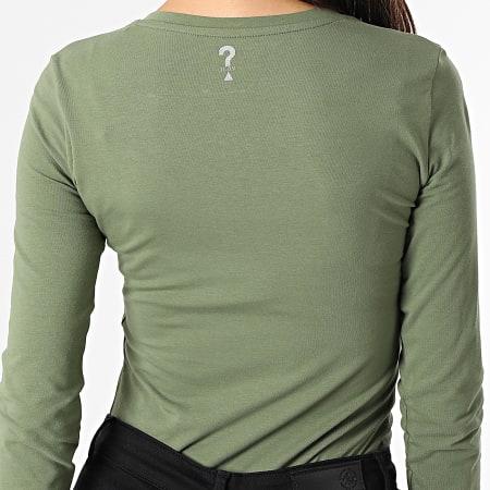 Guess - Tee Shirt Manches Longues Femme W1YI90 Vert Kaki