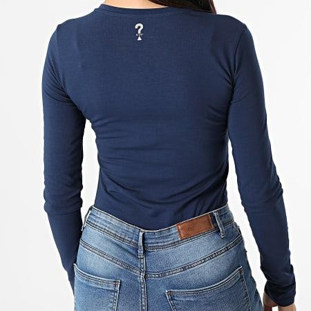 Guess - Tee Shirt Manches Longues Femme W1YI90 Bleu Marine