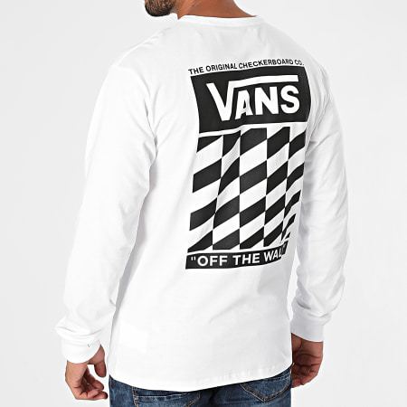 Vans - Tee Shirt Manches Longues Off The Wall Classic Slanted Check A5FQ8 Blanc
