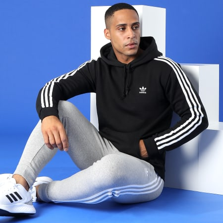 adidas - Sweat Capuche A Bandes 3 Stripes H06676 Noir