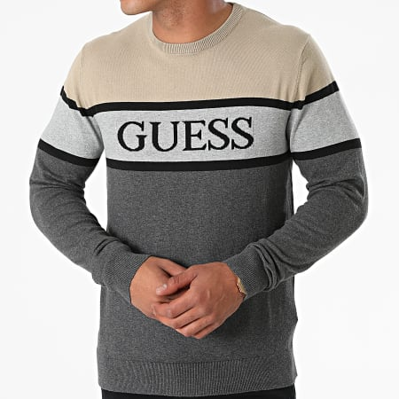 Guess - Pull M1YR57-Z2SA0 Gris Anthracite Chiné Beige