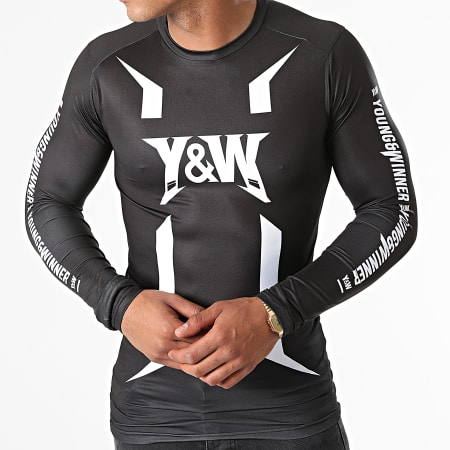 Y et W - Tee Shirt De Sport Manches Longues Haut Training Noir