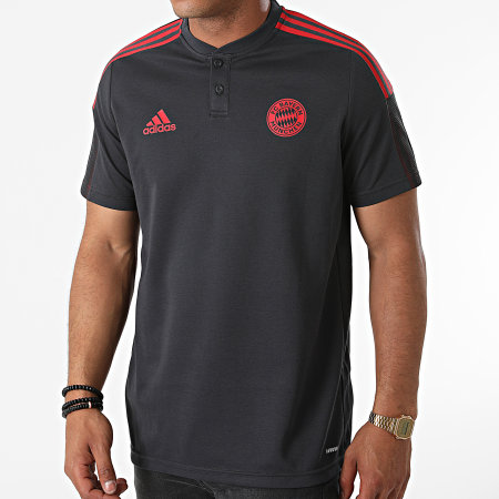 adidas - Polo Manches Courtes A Bandes FC Bayern GR0648 Gris Anthracite Rouge