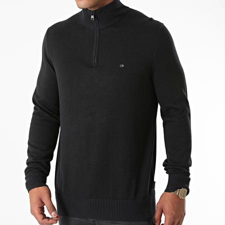 Calvin Klein - Pull Col Zippé Cotton Silk 7047 Noir