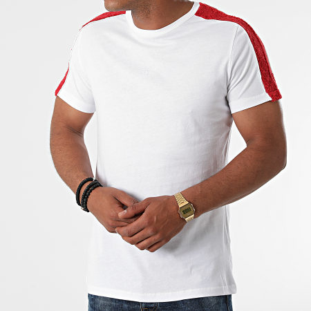 Black Industry - Tee Shirt A Bandes Fourrure T-144 Blanc Rouge