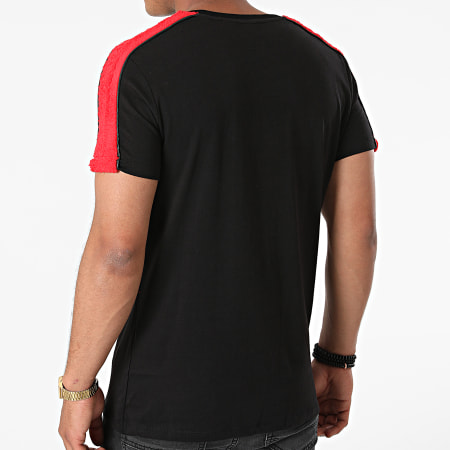 Black Industry - Tee Shirt A Bandes Fourrure T-149 Noir Rouge