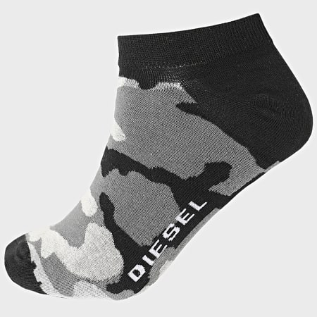 Diesel - Lot De 3 Paires De Chaussettes Basses 00SI8H-0HAZV Noir Blanc Camouflage Gris