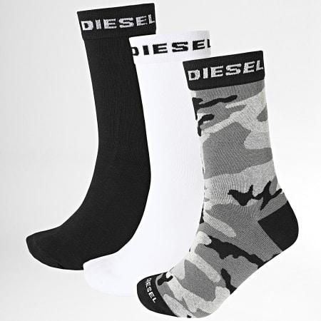 Diesel - Lot De 3 Paires De Chaussettes 00SI8B-0HAZV Noir Blanc Camouflage Gris