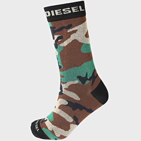 Diesel - Lot De 3 Paires De Chaussettes 00SK3A-0HAZV Noir Camouflage Vert Kaki