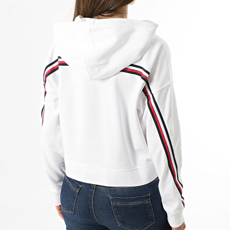 Tommy Sport - Sweat Capuche Femme A Bandes Relaxed Double Pique 1030 Blanc