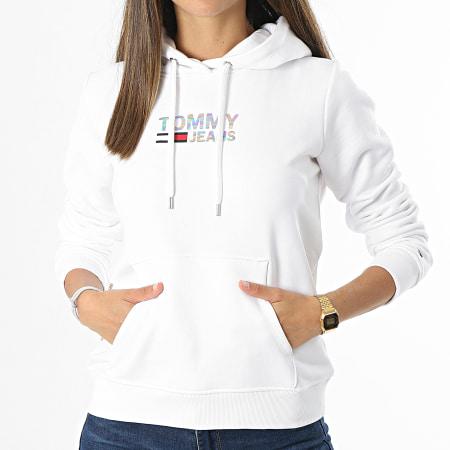 Tommy Jeans - Sweat Capuche Femme Slim Metal Corp Logo 9247 Blanc Irisé