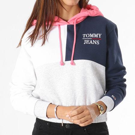 Tommy Jeans - Sweat Capuche Femme Crop Colorblock Logo 0453 Blanc Bleu Marine Gris Chiné