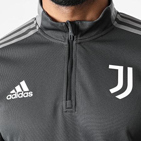 adidas - Sweat Col Zippé A Bandes Juventus GR2942 Gris Anthracite
