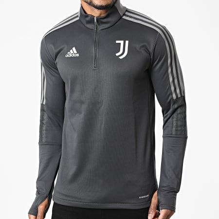adidas - Sweat Col Zippé A Bandes Juventus GR2970 Gris Anthracite