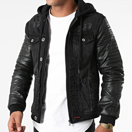 Black Industry - Veste Jean A Capuche 5922 Noir