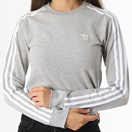 adidas - Tee Shirt Manches Longues Femme A Bandes H33570 Gris Chiné